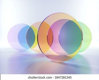 3D-Rendering, abstrakter, moderner minimaler Hintergrund mit bunten, transparenten, runden Glasformen, einfachen geometrischen Formen