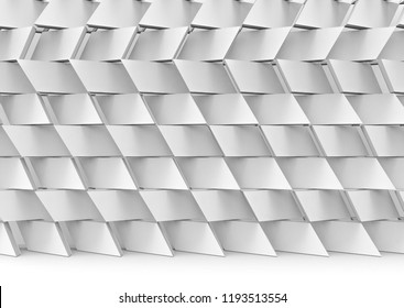 3d rendering. Abstract modern random gray trapezoid pattern ceramic stack wall background.