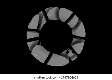 3D rendering abstract monochrome circle illustration