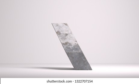 3d rendering of abstract monolith diagonal shape block. Concrete  texture. Geometric heavy cement block standing on the edge. Isolated  on grey background.  Risk management, balance concept