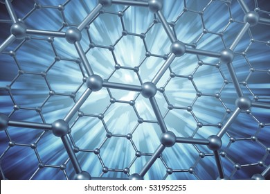 3d rendering abstract nanotechnology hexagonal geometric form close-up, concept graphene molecular structure