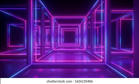 3d rendering, abstract neon geometric background, cubic shape, lines glowing in ultraviolet light, hypercube concept, square box construction