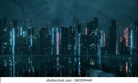 3D Rendering of abstract neon mega city with light reflection from puddles on street. Concept for night life, never sleep business district center (CBD)Cyber punk theme.