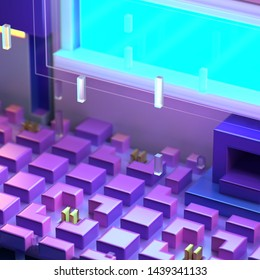 3d rendering of abstract night cityscape. Cyberpunk futuristic cartoon design. Blue, pink, purple and yellow neon colorful signs. Pixel art game style. Voxel cubic structure.
