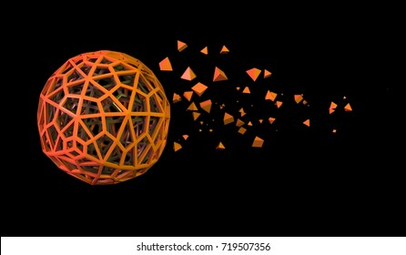 3D Rendering Of Abstract Orange Hollow Sphere With Chaotic Pyramid Particles On Black Background