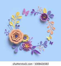 3d rendering, abstract paper craft floral wreath, botanical background, paper flowers, round frame, blank greeting card, candy pastel colors, bright hue palette