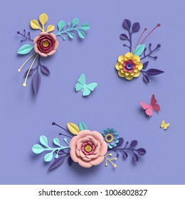 3d rendering, abstract papercraft floral isolated elements, botanical background, paper flowers, candy pastel colors, bright hue palette