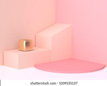 3d rendering abstract pink cream wall corner geometric shape