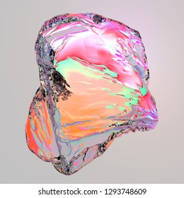 3d rendering of abstract plastic bag. Transparent glass surface with wavy refractions, folds, distortion. Fluid shapes, gasoline stains effect. Bright colors. Computer generated.  Modern background