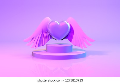 3d rendering. Abstract product display with heart, cupid wing and steps. Valentine's day background.