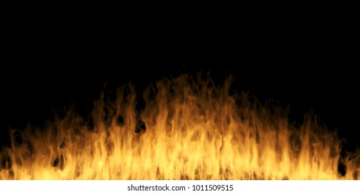 3D Rendering Of Abstract Realistic Fire On Dark Background