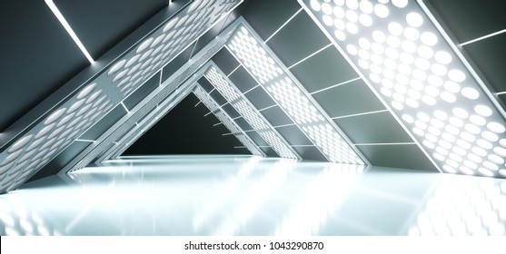 3D Rendering Of Abstract Realistic Triangle Sci-Fi Corridor With Lighted Grid Mesh