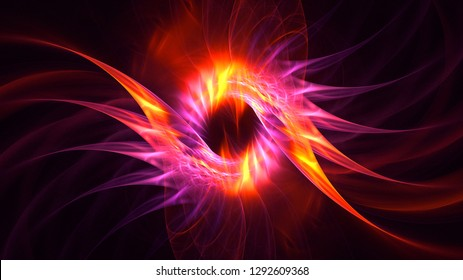 3D rendering abstract red fractal light background