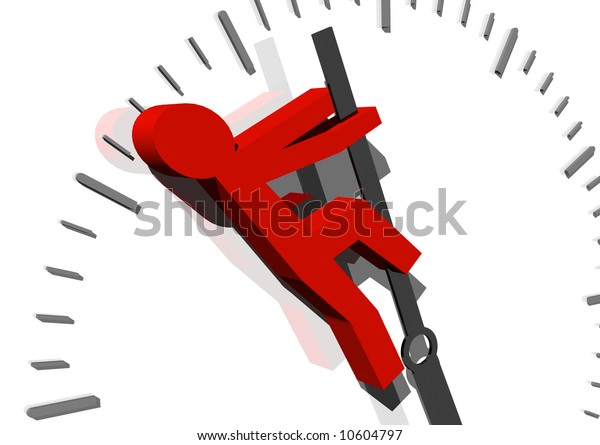 3d rendering of an abstract red man, trying to stop time