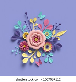 3d rendering, abstract round floral bouquet, botanical background, bridal paper flowers, pattern,  papercraft, candy pastel colors, bright hue palette