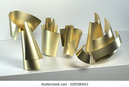 3d rendering of abstract scene with geometric objects. Realistic glossy gold metal with rough texture. Composition with simple shapes, bend shiny paper cones on white background. Roll cardboard pages