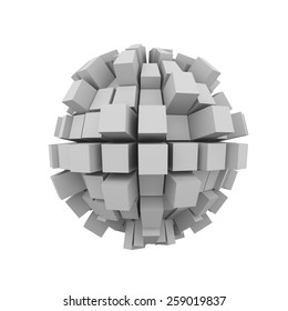 3d rendering of abstract shape block cube sphere ball