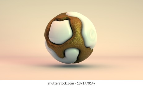 3D rendering of an abstract shape, drops of gold and biological fluid are connected in a sphere, beautiful, unique on a white, yellow background. Perfect curves, smooth transitions, smooth lines.
