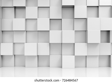 3d rendering. abstract stack of random luxury white cube boxes wall design background.