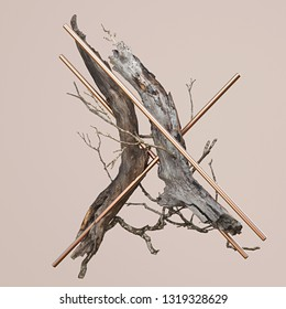 3d rendering of abstract still life.  Composition with wooden branches and golden cylinders. Geometric primitives and photorealistic natural elements levitate. Isolated  on bege background.