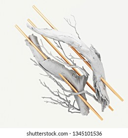 3d rendering of abstract still life.  Composition with painted white wooden branches and golden cylinders. Geometric primitives and photorealistic natural elements levitate. Isolated on background