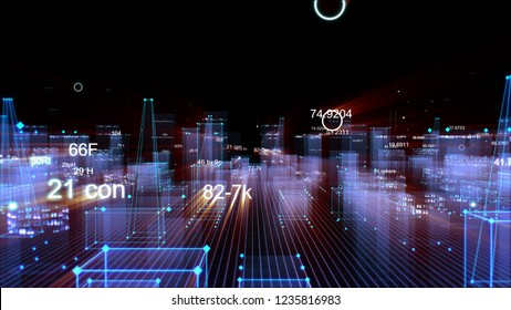 3D rendering abstract technological digital city from data in cyberspace, information storage in the information space