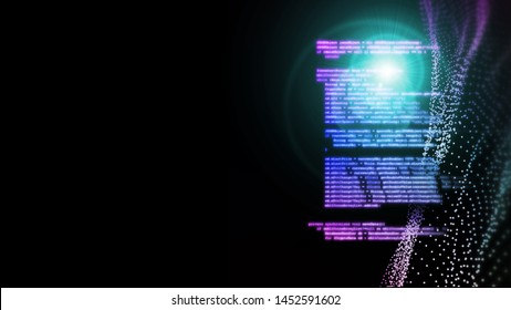 3D rendering of abstract technology background. Software coding on glowing led flare light on dot wave background.  Concept for software development life cycle (SDLC), Agile,  Scrum