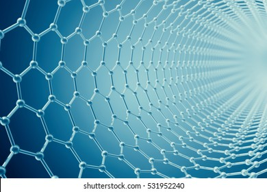 3d rendering abstract tube nanotechnology hexagonal geometric form close-up, concept graphene molecular structure