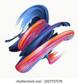 3d rendering, abstract twisted brush stroke, paint splash, splatter, colorful curl, artistic spiral, vivid hieroglyph