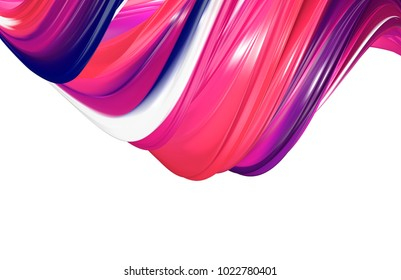 3D rendering of abstract twisted shape of paint. Computer generated geometric digital art.