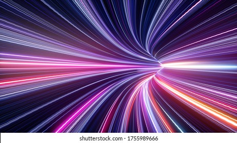3d rendering, abstract ultraviolet tunnel with neon rays, glowing lines, cyber network, speed of light, highway night lights, space and time strings