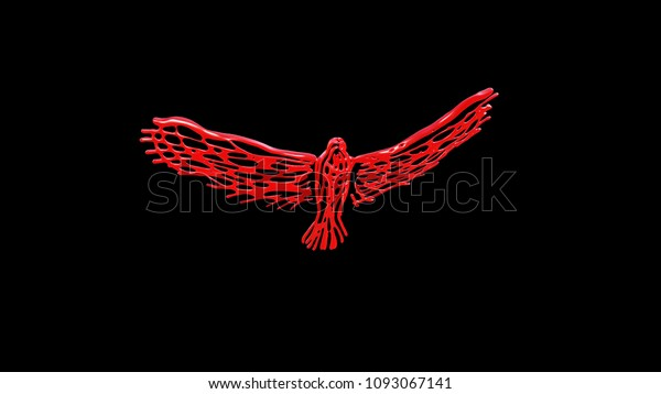 3d Rendering Abstract Unusual Red Eagle Stock Illustration 1093067141