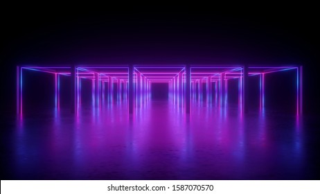 3d rendering, abstract violet neon geometric background, lines glowing in ultraviolet light, cubic shapes, hypercube concept, square box construction
