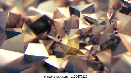 3D rendering abstract white golden triangle geometric form with chromatic aberration effects background