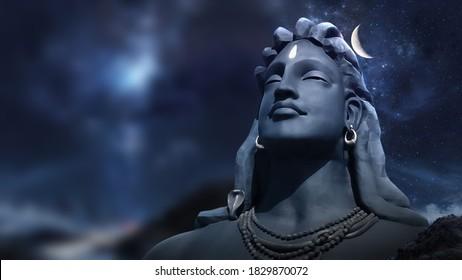 3D Rendering Adiyogi Black Shiv Sculpture Coimbatore Statue With Moon On The Head with stars on 3D illustration Shiva adi yogi