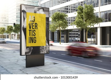 3d rendering advertising poster on the city
