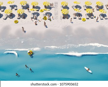 3D rendering. aerial top view on the beach with lots of beach umbrella