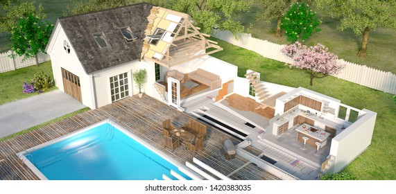 3D rendering Aerial view of a luxurious house with swimming pool, sectioned to show technical construction details
