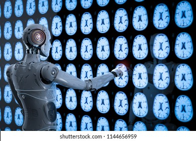 3d rendering ai robot analyze x-ray brain tomography