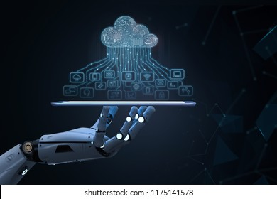 3d rendering ai robot with cloud computing and technology icons