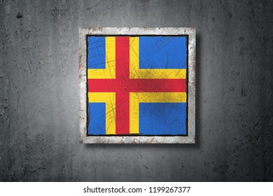 3d rendering of an Aland Islands flag in a concrete wall