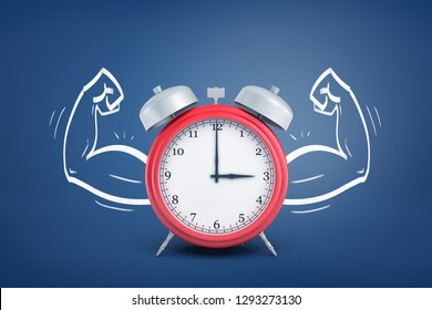 3d rendering of alarm clock flexing arms on blue background. Digital art. Objects and materials. Power of time.