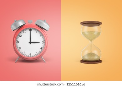 3d rendering of alarm clock and sandglass on coral and yellow background. Colorful background. Time expired. Time planning.