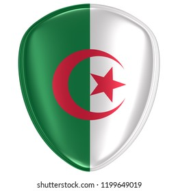 3d rendering of an Algeria flag icon on white background.
