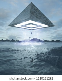 3d rendering alien fantasy pyramid ufo sky space egypt
