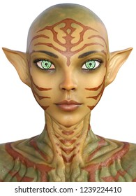 3d rendering alien woman portrait with long ears and tatto skin isolated