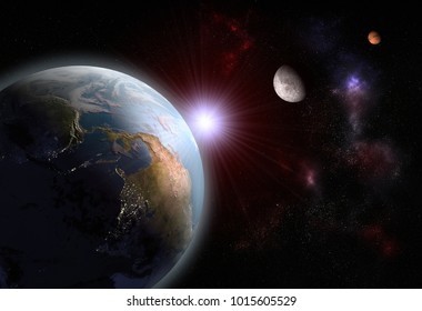 3D rendering of the alignment of The Earth, The Moon and Mars