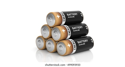 3d rendering alkaline batteries stack on white background