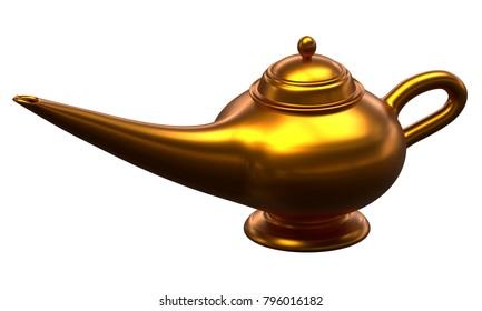 3D rendering of Alladin Lamp isolated on white background