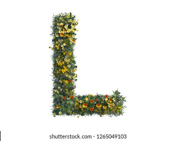 3D Rendering of Alphabet Capital Letter L, with full color of flowers inside. this letter rendered in High Resolution with White isolated background, ready to use in All graphic software Illustration